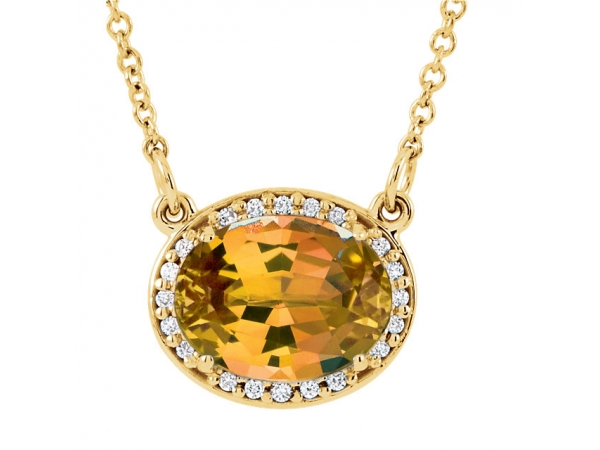 Citrine Necklace - 14K Yellow Gold Citrine Necklace