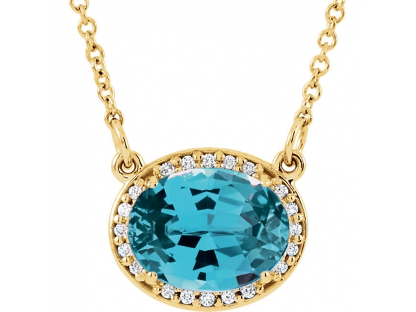 Halo-Style Necklace - 14K Yellow Swiss Blue Topaz & .05 CTW Diamond 16