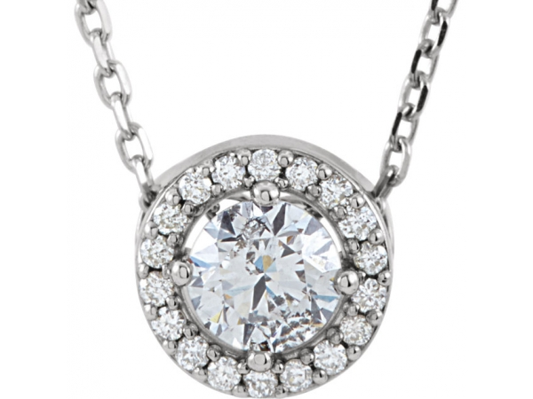 Halo-Style  Necklace - 14K White 3/8 CTW Diamond Halo-Style 16