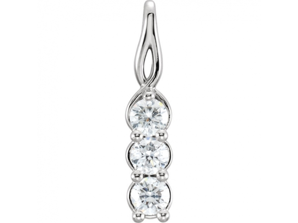 Three-Stone Pendant - 14K White 1/2 CTW Diamond 3-Stone Pendant
