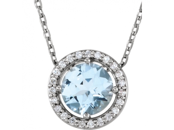 Halo-Style Necklace - 14K White Aquamarine & .05 CTW Diamond 16