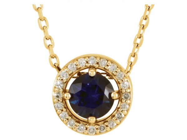 Halo-Style Necklace - 14K Yellow Blue Sapphire & .05 CTW Diamond 16