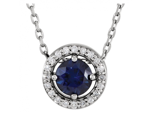 Halo-Style Necklace - Platinum Blue Sapphire & .05 CTW Diamond 16