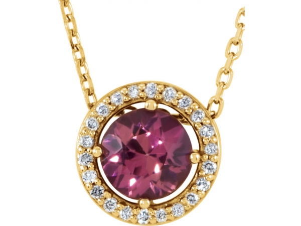 Tourmaline Necklace - Polished 14K Yellow Gold Tourmaline Necklace