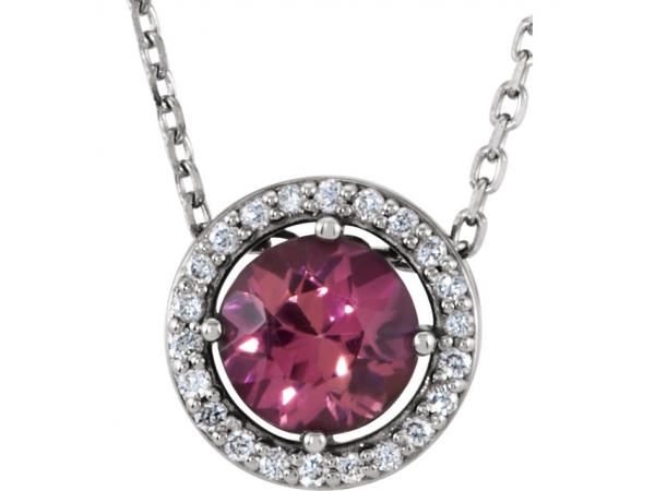 Tourmaline Necklace - Polished Sterling Silver Tourmaline Necklace