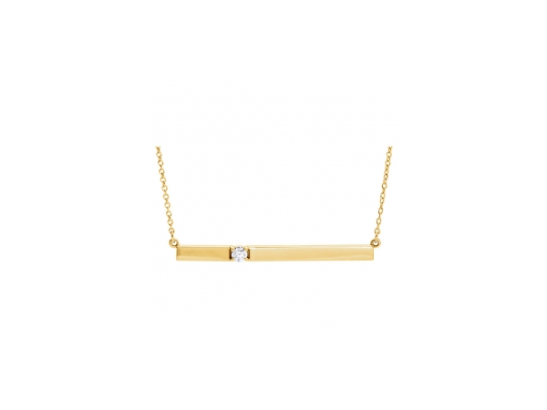 Diamond Necklace - Polished 14K Yellow Gold Diamond Engravable Necklace