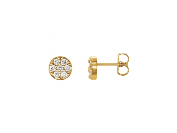 Diamond Earrings - 14K Yellow Gold Diamond Earrings