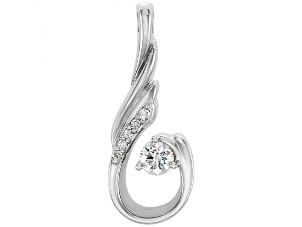 Diamond Pendant - Polished 14K White Gold Diamond Pendant
