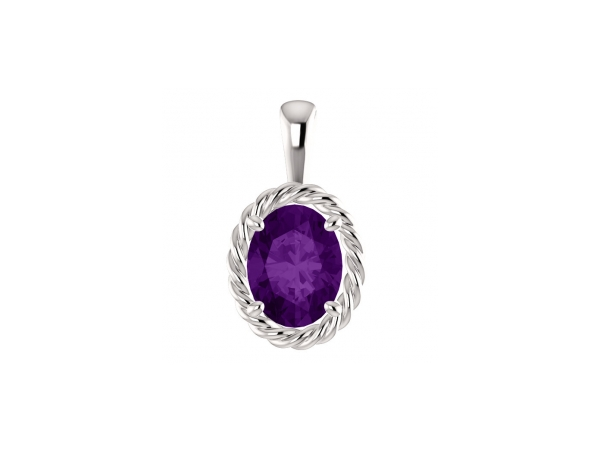 Amethyst Pendant - Polished 14K White Gold Oval Cut Amethyst Pendant
