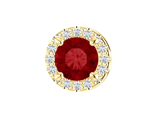 Ruby Pendant - Polished 14K Yellow Gold Round Cut Ruby Pendant