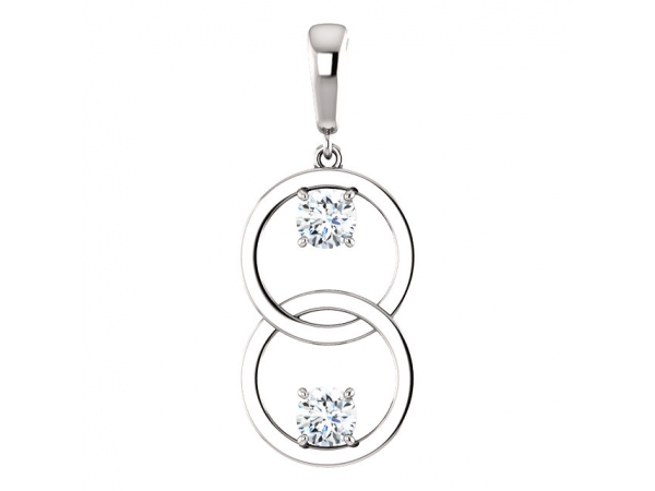Two-Stone Circle Pendant - 14K White 1/2 CTW Diamond Pendant