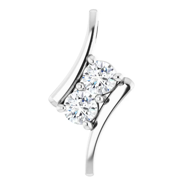 Diamond Pendant - Polished Platinum Round Cut Diamond Pendant