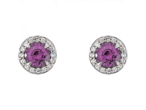 Gemstone Earrings - Halo-Style Earrings - image 2
