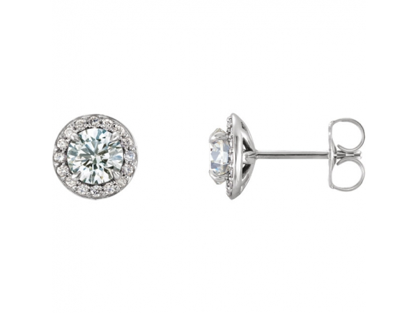 Genuine Diamond Earrings - Polished 14K White Gold Genuine Diamond Earrings