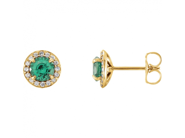 Halo-Style Earrings - 14K Yellow 5mm Round Chatham® Created Emerald & 1/6 CTW Diamond Earrings