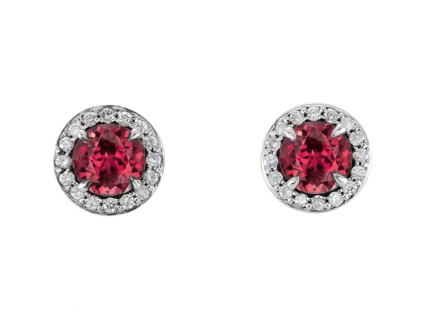 Genuine Ruby Earrings - Polished 14K White Gold Genuine Ruby Earrings