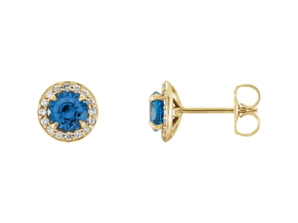 Genuine Blue Sapphire Earrings - Polished 14K Yellow Gold Genuine Blue Sapphire Earrings