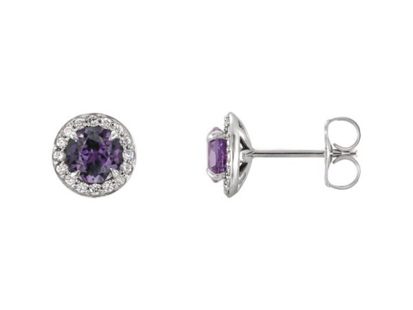 Gemstone Earrings - Chatham Lab-Created Alexandrite Earrings