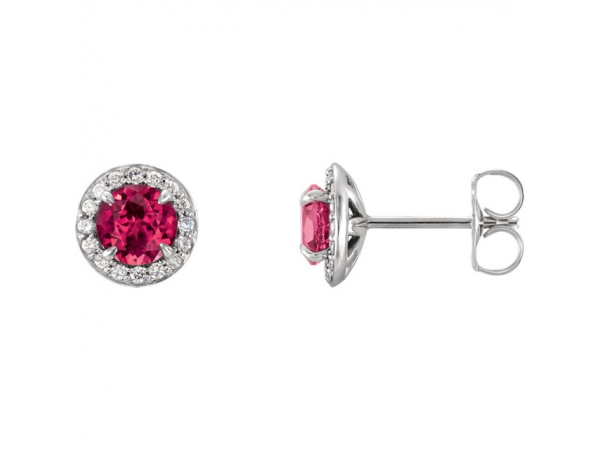 Chatham Lab-Created Ruby Earrings - Polished 14K White Gold Chatham Lab-Created Ruby Earrings
