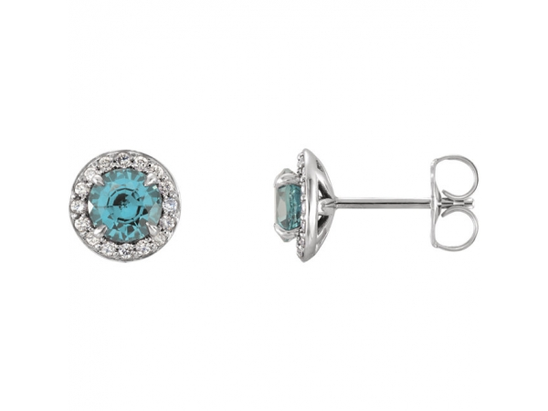 Halo-Style Earrings - Genuine Aquamarine 3.5mm Round Aquamarine & 1/6 CTW Diamond Earrings