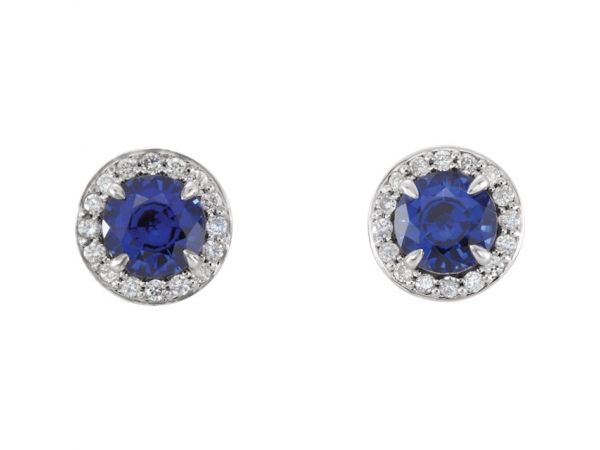 Gemstone Earrings - Genuine Blue Sapphire Earrings - image #2