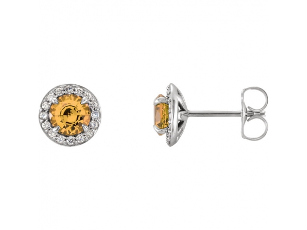 Halo-Style Earrings - 14K White 3.5mm Round Citrine & 1/8 CTW Diamond Earrings