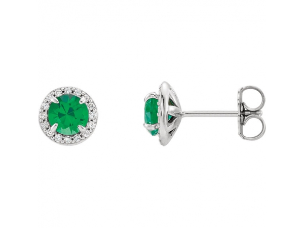 Halo-Style Earrings - 14K White 3.5mm Round Emerald & 1/8 CTW Diamond Earrings