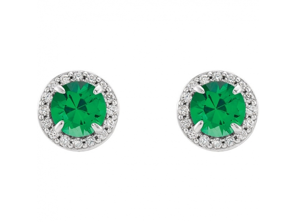 Gemstone Earrings - Genuine Emerald Earrings - image 2