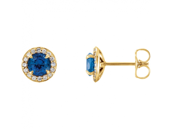 Chatham Lab-Created Blue Sapphire Earrings - Polished 14K Yellow Gold Chatham Lab-Created Blue Sapphire Earrings