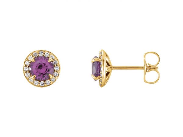 Polished 14K Yellow Gold Genuine Amethyst Earrings