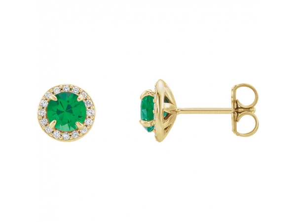 Gemstone Earrings - Chatham Lab-Created Emerald Earrings