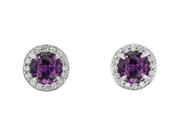Gemstone Earrings - Chatham Lab-Created Alexandrite Earrings - image 2