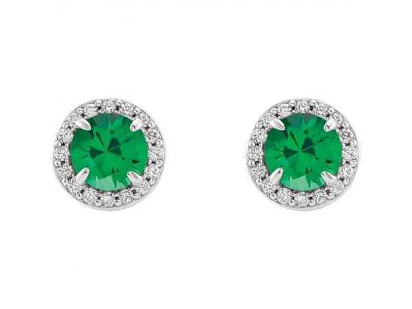 Gemstone Earrings Chatham Lab Created Emerald Image 2