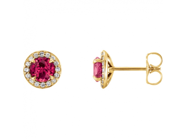 Halo-Style Earrings - 14K Yellow 4.5mm Round Chatham® Created Ruby & 1/6 CTW Diamond Earrings