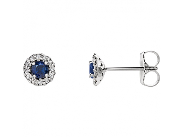 Halo-Style Earrings - 14K White Blue Sapphire & 1/10 CTW Diamond Earrings