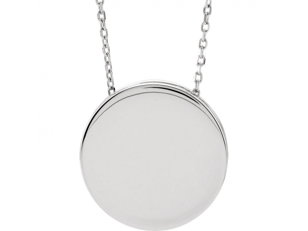 Engravable Scroll Disc Slide Necklace  - 14K White Engravable Scroll Disc 16-18