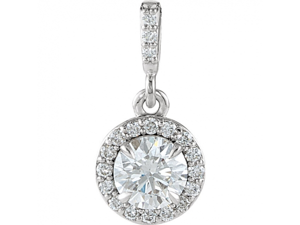 Diamond Pendant - Polished Platinum Diamond Pendant