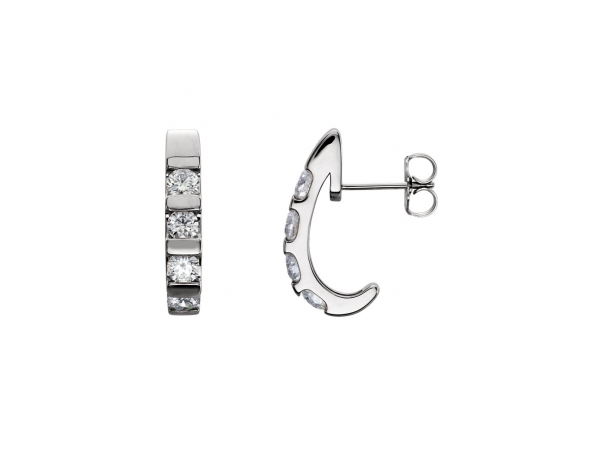Diamond Earrings - Polished Platinum Diamond Earrings