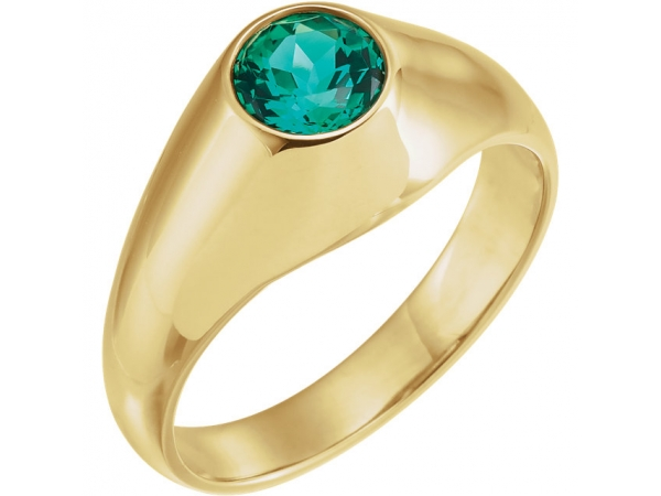 Men's Bezel-Set Ring - 14K Yellow 6.5mm Round Chatham® Created Emerald Ring