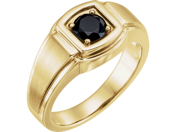 Men's Solitaire Ring - 14K Yellow Onyx Men's Ring