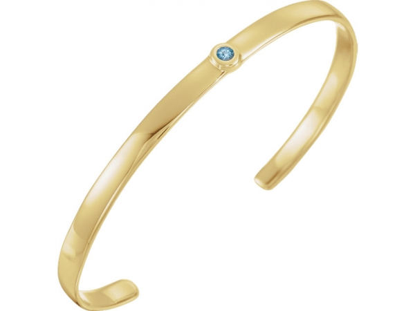 Bezel Set Cuff Bracelet - 14K Yellow Aquamarine 8