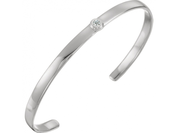 Bezel Set Cuff Bracelet - Sterling Silver 1/10 CTW Diamond 8