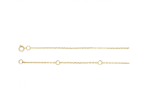 10K Yellow Gold Chain Necklace - Polished 10K Yellow Gold Chain Necklace