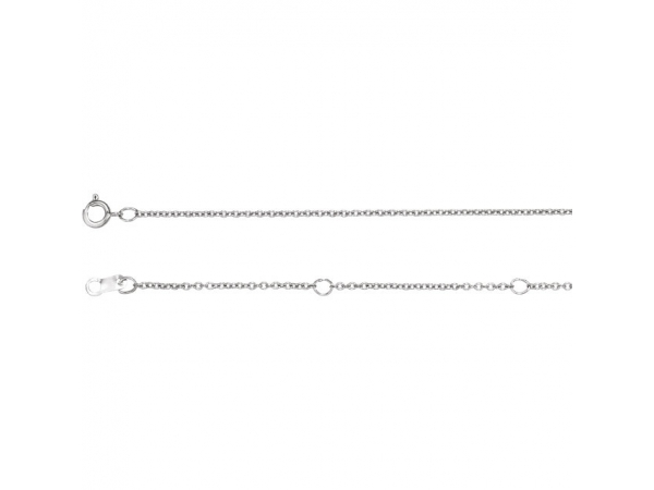 10K White Gold Chain Necklace - Polished 10K White Gold Chain Necklace