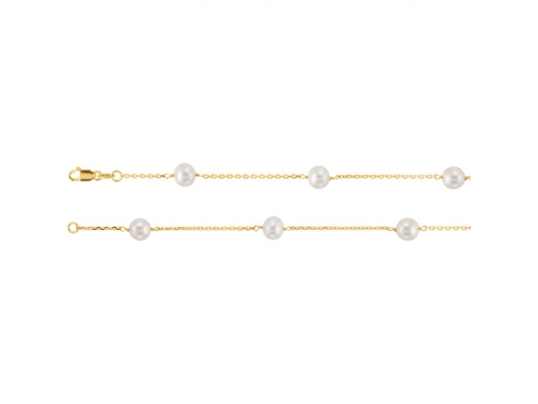 Pearl Station  Necklace   - 14K Yellow Pearl Station 16