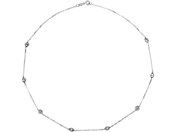 Cubic Zirconia Station Necklace - Sterling Silver Cubic Zirconia 16