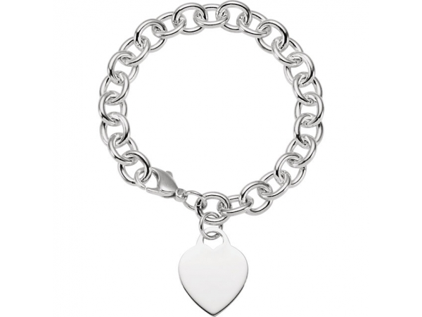9.75mm Sterling Silver Charm Cable Bracelet with Lightweight Heart by Stuller