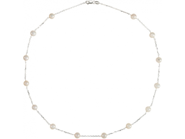 Pearl Station Necklace - Sterling Silver Freshwater Cultured Pearl Station 18