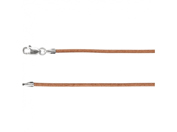 1.5mm Natural Leather Cord  - Sterling Silver 1.5mm Natural Leather 18