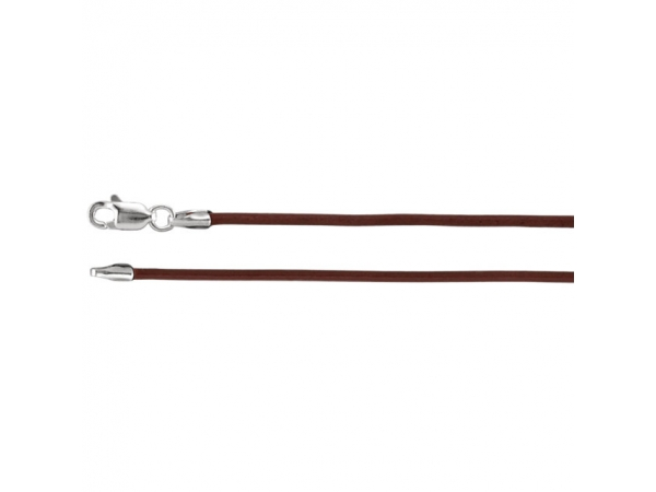 1.5mm Brown Leather Cord  - Sterling Silver 1.5mm Brown Leather 16